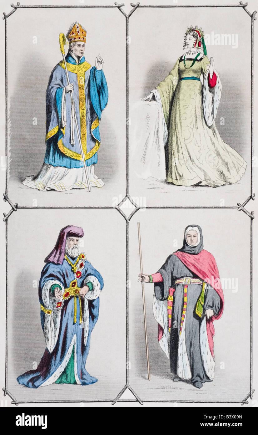 English costumes between 1392 and 1413. Bishop, countess, earl and judge - Stock Image
