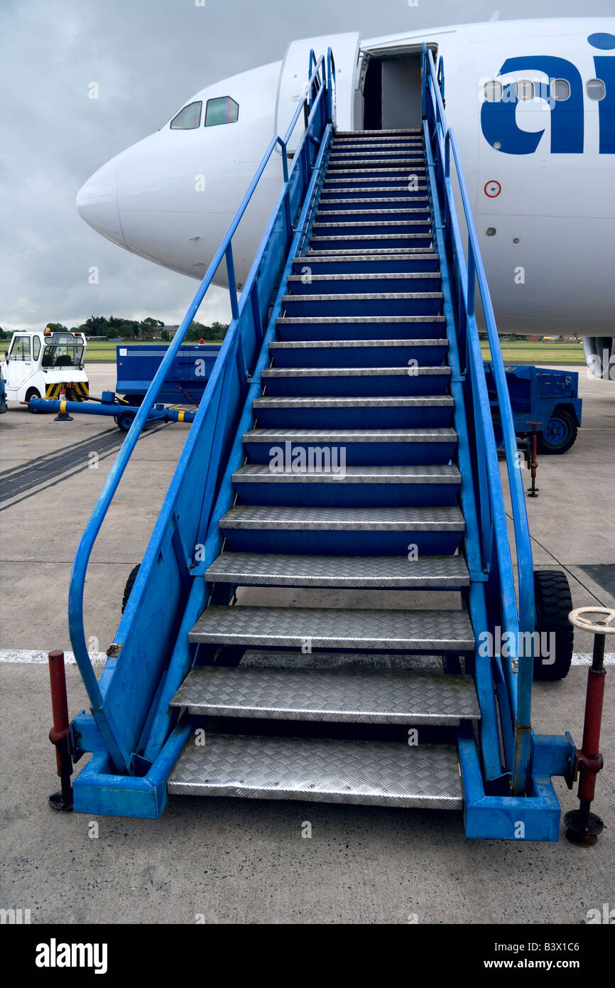 Passenger Stairs Up To An Airbus A310 300 Airplane.