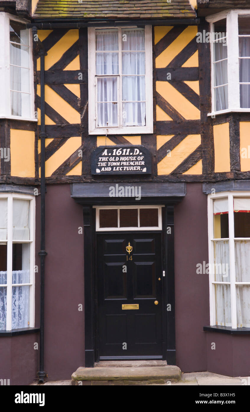 Black Front Door With Glazed Fanlight On 17th Century Timber Frame  Townhouse In Ludlow Shropshire England UK Dated 1611