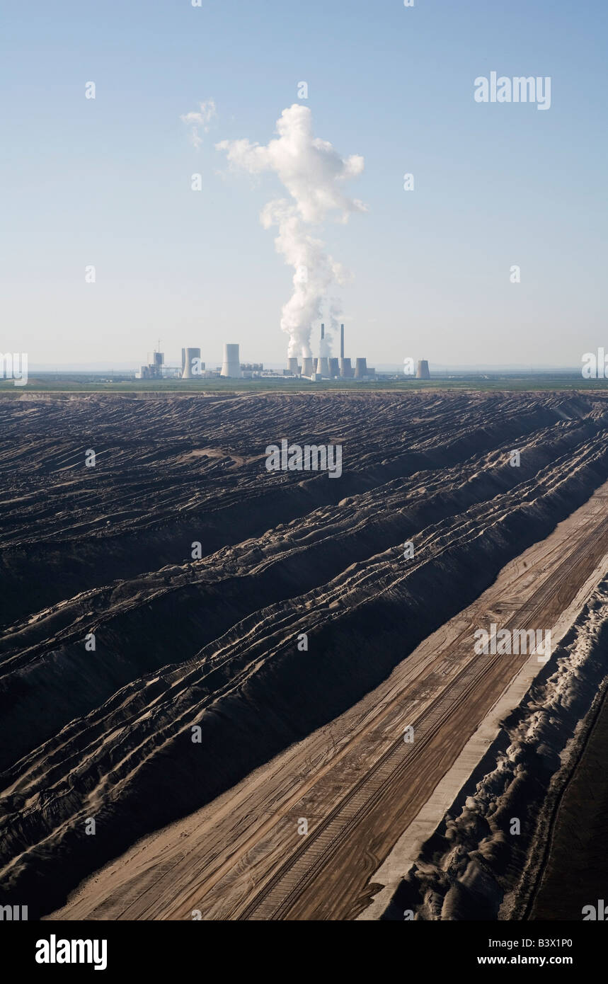 Brown coal power plant Boxberg O L with brown coal open cast mining Stock Photo
