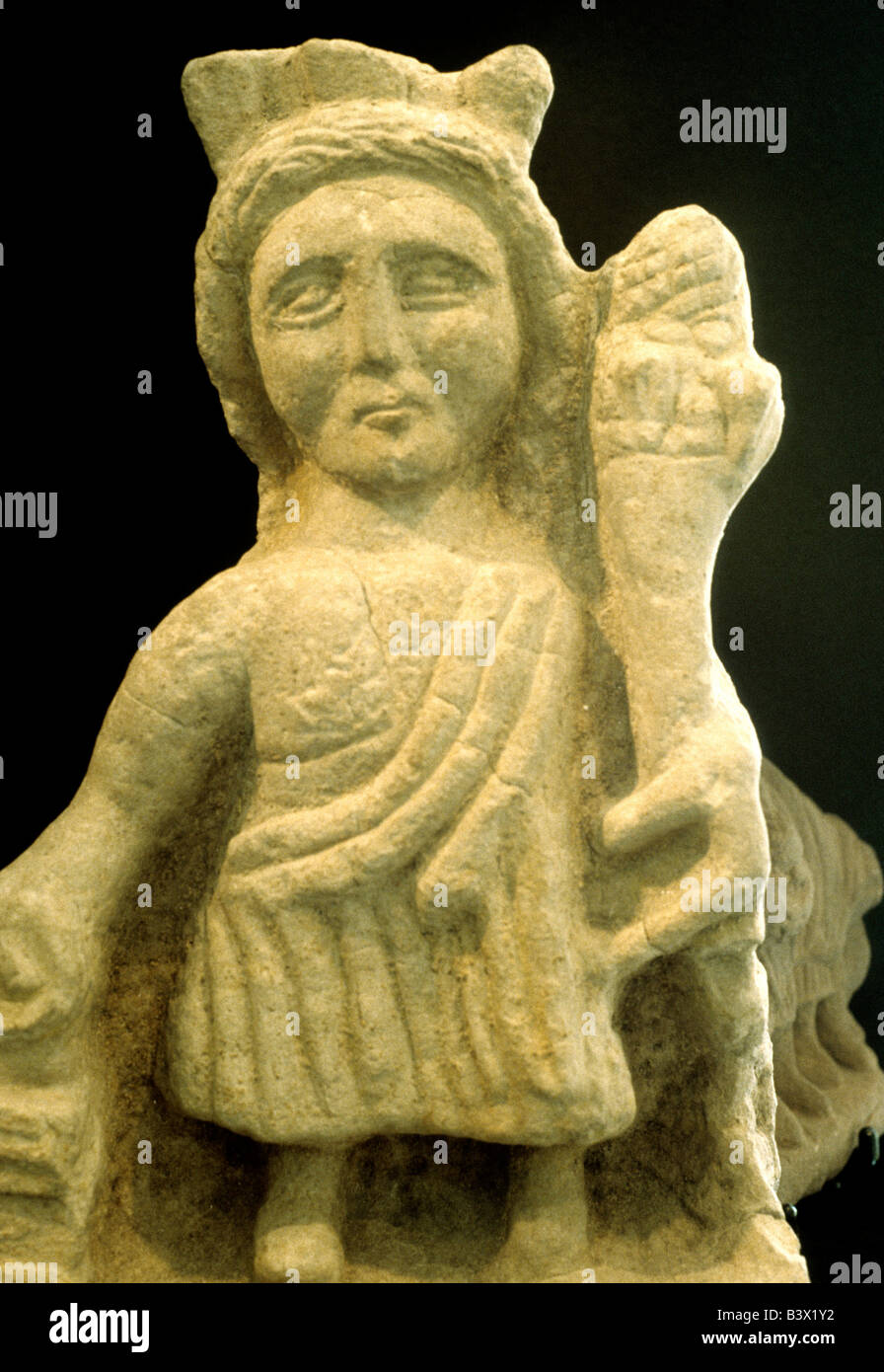 Roman carved stone sculpture figure from Hadrians Wall Tulie House Museum Carlisle Cumbria England UK English history - Stock Image
