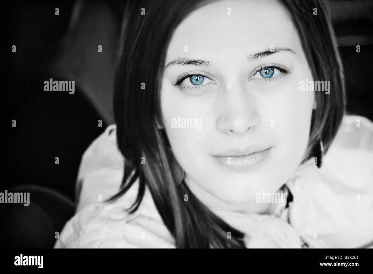 Blue eyed woman - Stock Image