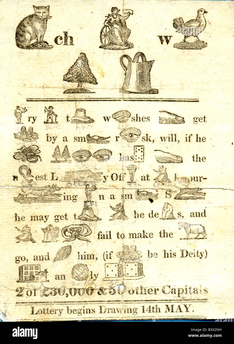 19th century State National lottery advertisement in form of rebus puzzle circa 1805 - Stock Image