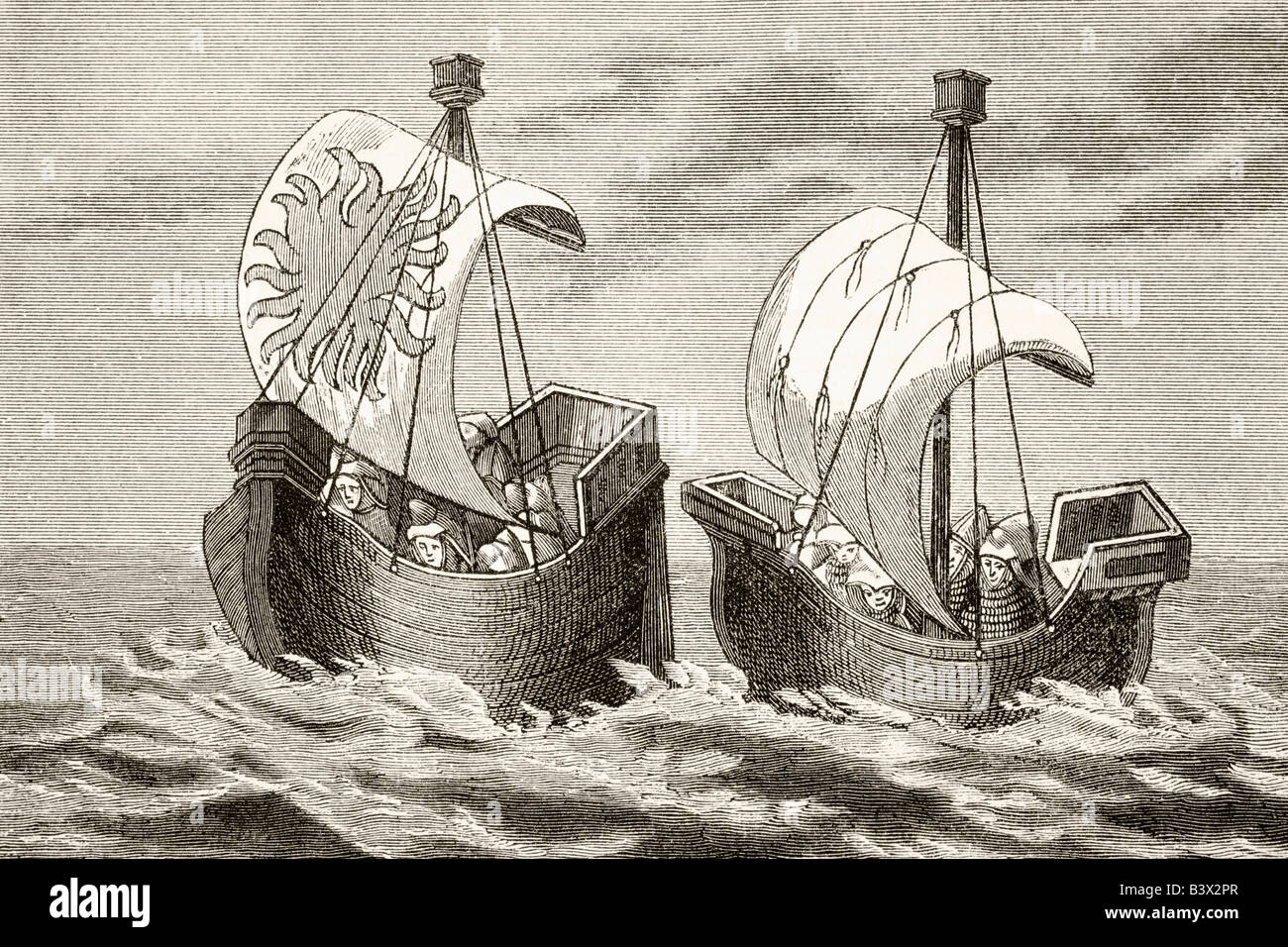 Ships of the fourteenth century - Stock Image