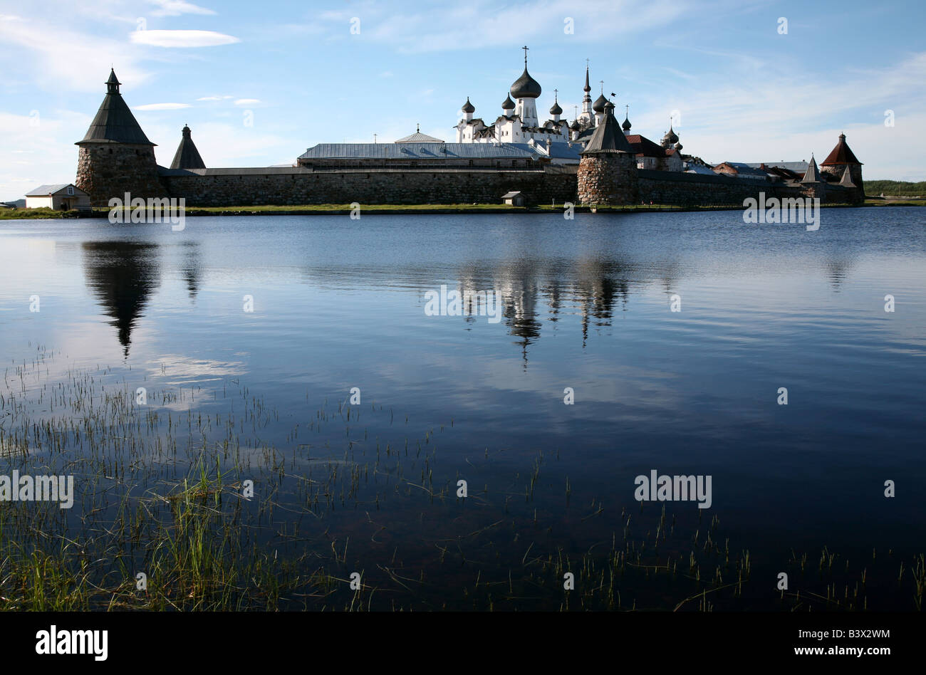 Solovetsky Monastery on the Solovetsky Islands in the White Sea, Russia. View from Saint Lake. Stock Photo