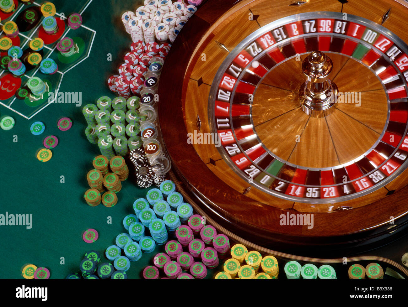 Roulette wheel and table with chips in an Atlantic City, New Jersey, casino - Stock Image