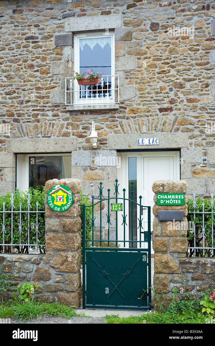 Bed And Breakfast Signs On House S Gateway Brittany France Stock