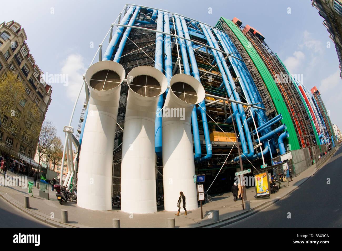 Exterior Pompidou Centre Center Paris France Europe - Stock Image