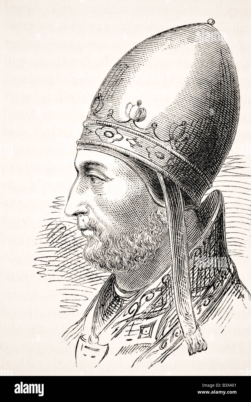 Pope Adrian IV or Hadrian IV born circa 1100 to 1159. Only English born Pope. Stock Photo