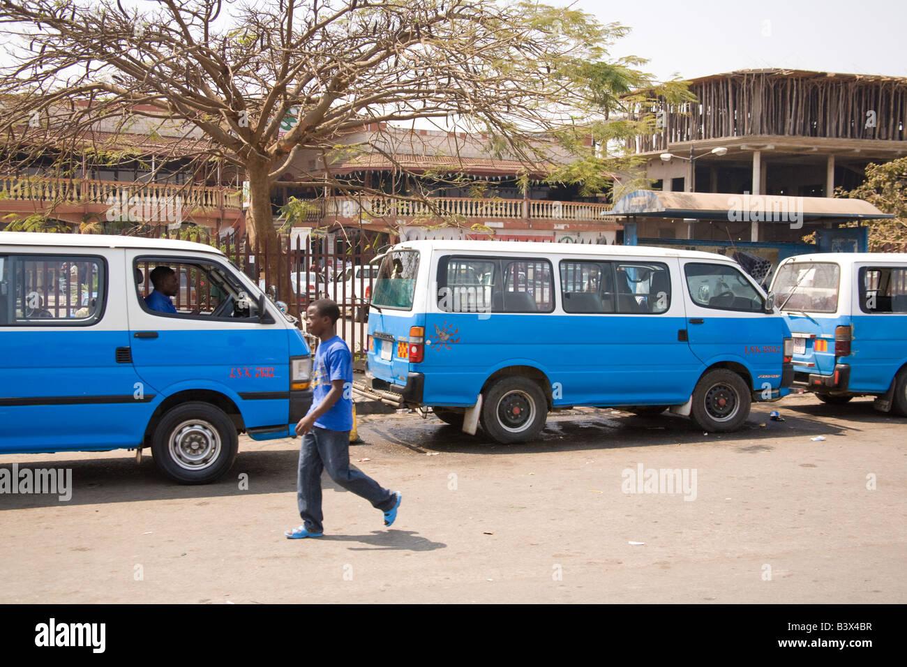 Mini bus taxis Lusaka Zambia Africa - Stock Image