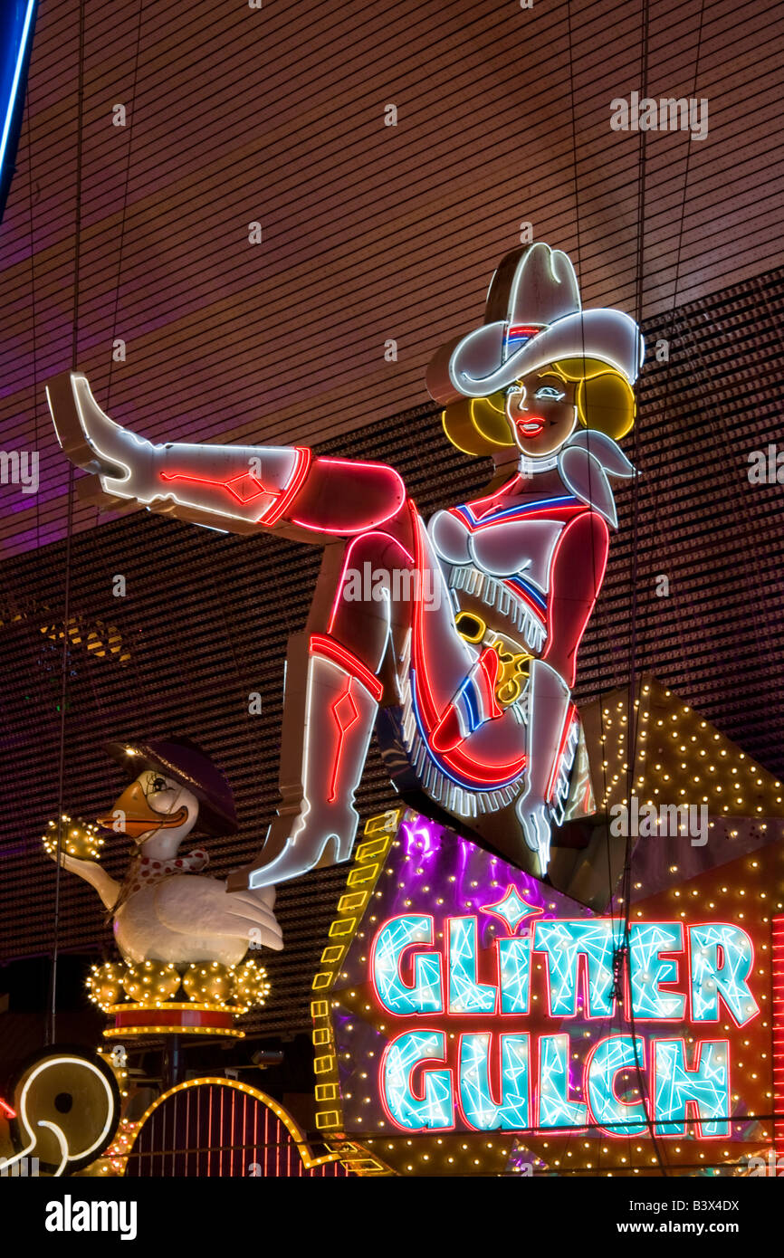 Sassy Sally wife of Vegas Vic Famous neon signage on Fremont Street Las Vegas Nevada - Stock Image