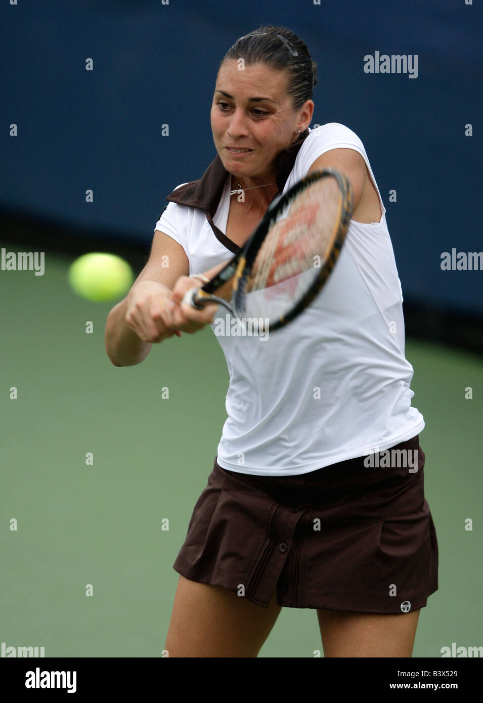 Tennis pro Flavia Pennetta (ITA) in action at the US Open Stock Photo