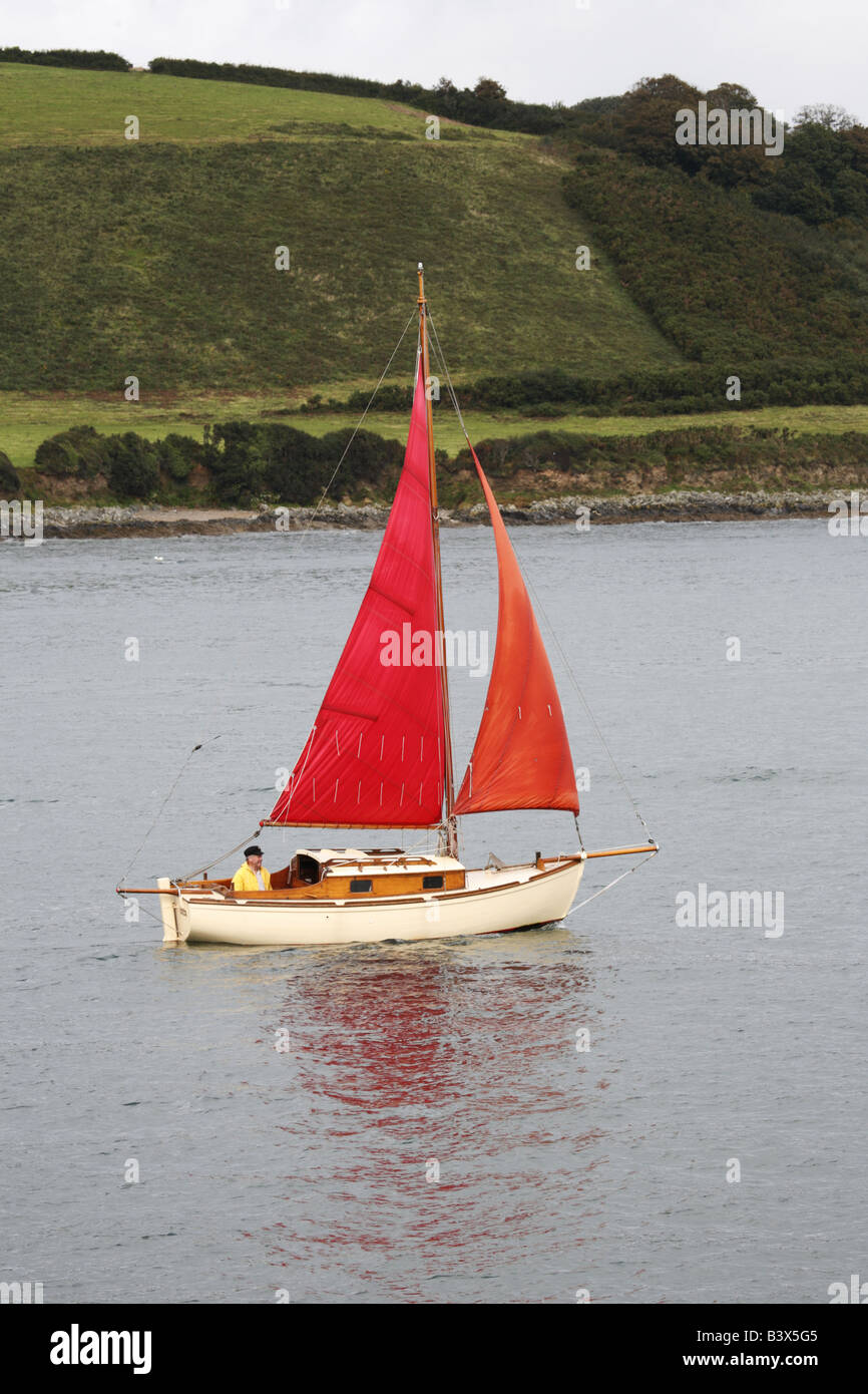 Sailing on the River Fal Falmouth Cornwall England - Stock Image