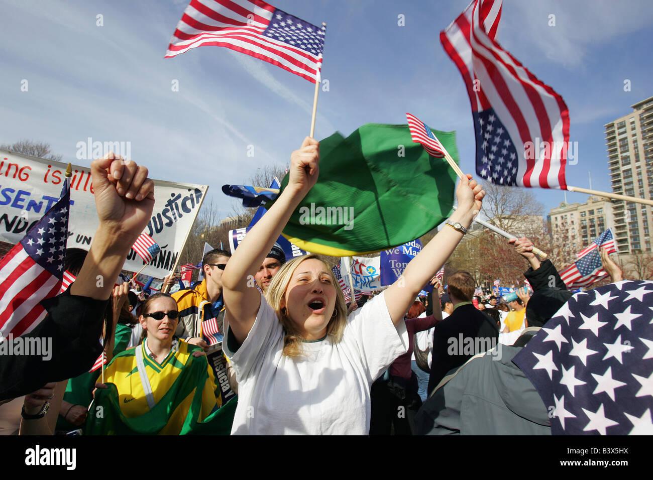 immigrant rally Boston Common - Stock Image