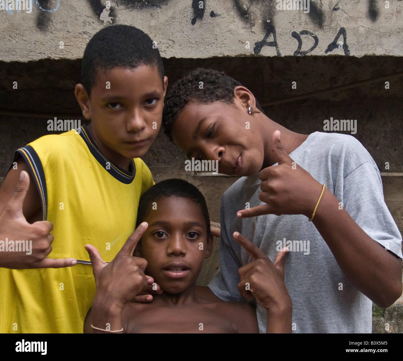 Three young boys from the Rocinha favela in Rio de Janeiro Stock Photo