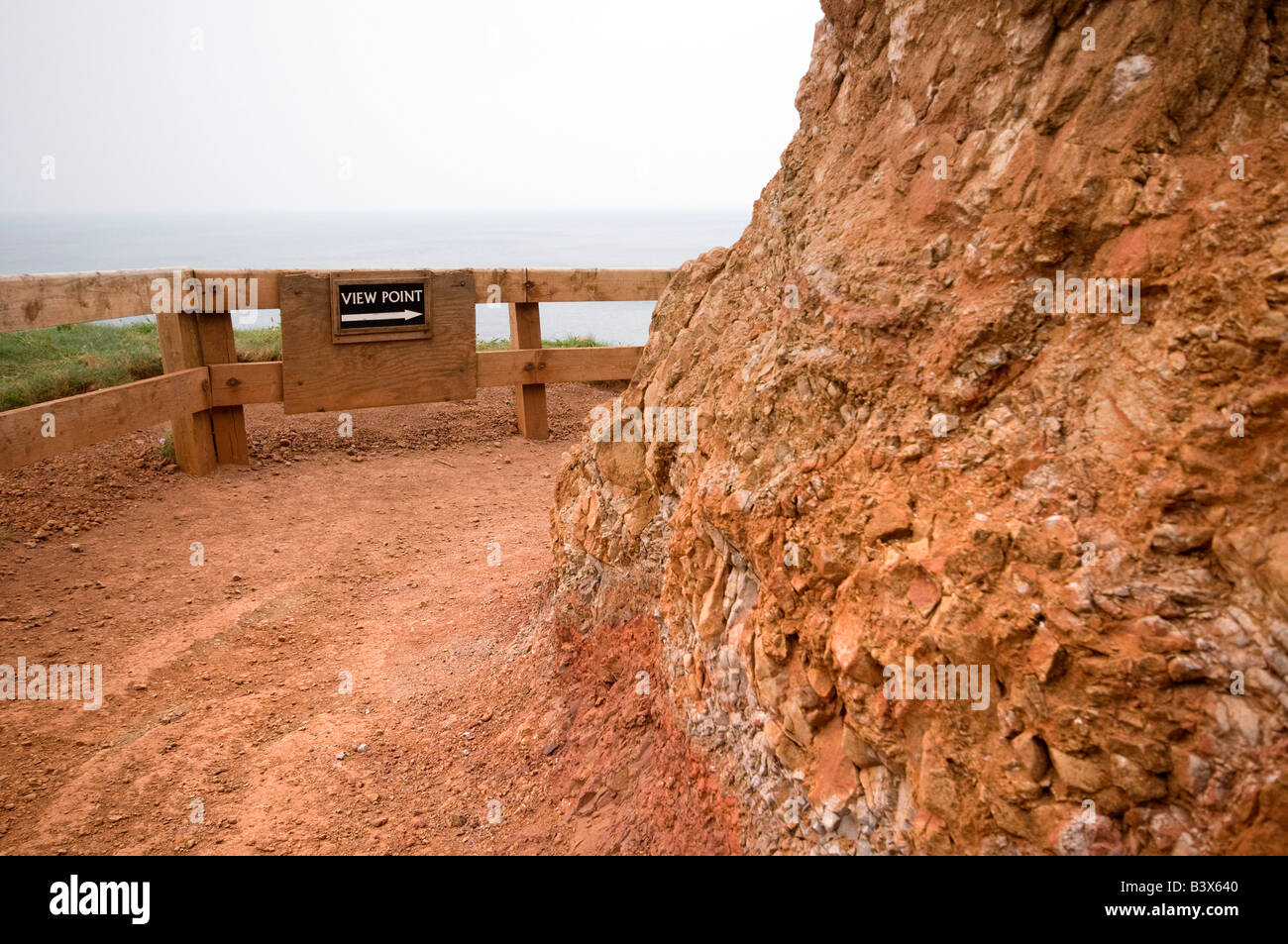 Comical Sign Reads 'View Point' Along Clifftop Walk. Giants Causeway, Northern Ireland Stock Photo