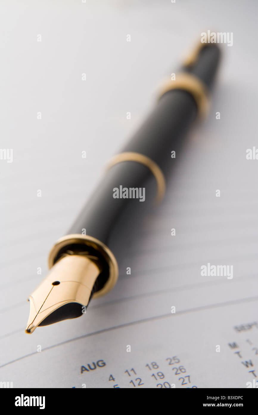 Close Up Of A Fountain Pen - Stock Image