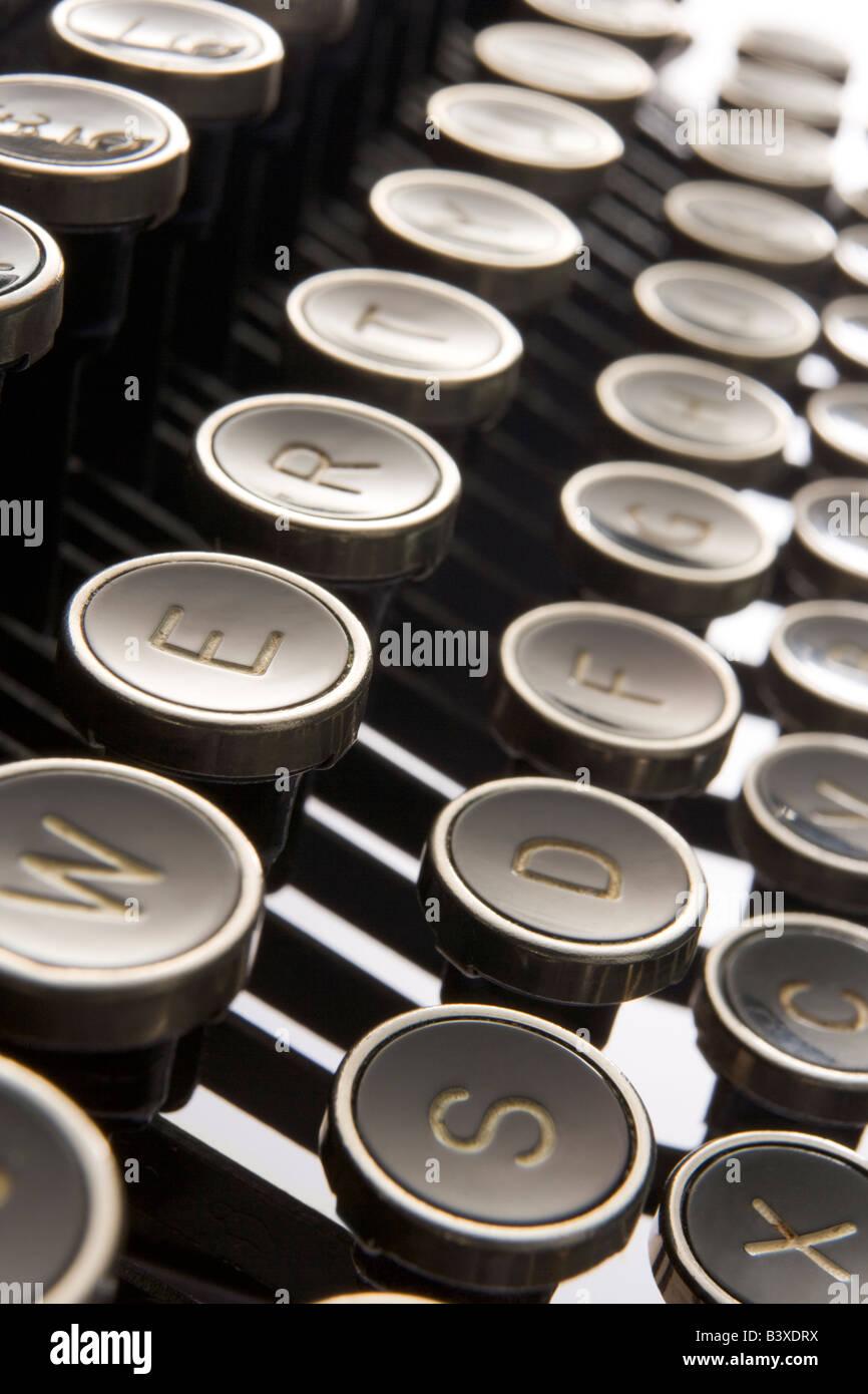 Close Up Of Old Fashioned Typewriter Keys - Stock Image