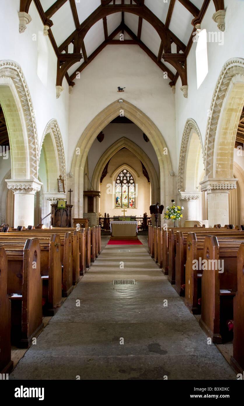 Typical English Norman Village Country Church Interior At StMarys ChurchGreat BedwynWiltshireEnglandGreat BritainUK