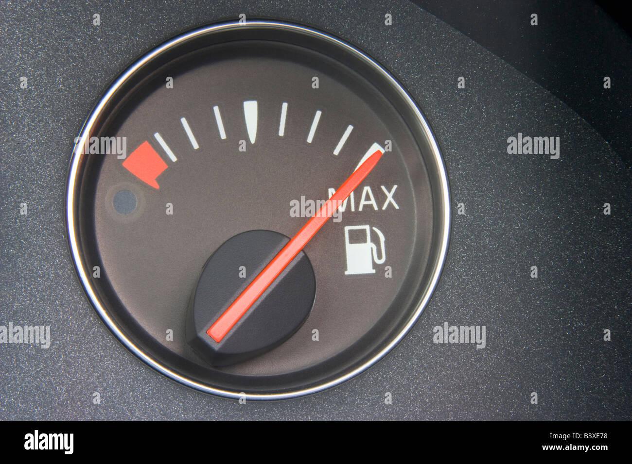 Fuel Gauge Reading Full - Stock Image