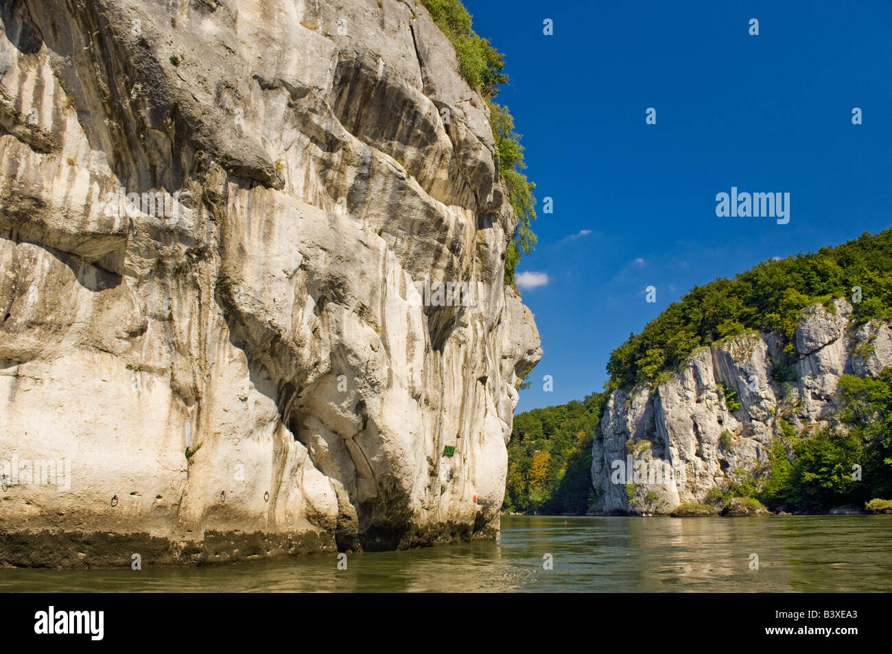 narrowing of the Danube weltenburg donaudurchbruch danube river The Danube breaks through the cliffs - Stock Image