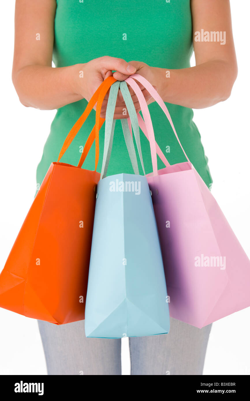 Woman Holding Shopping Bags - Stock Image