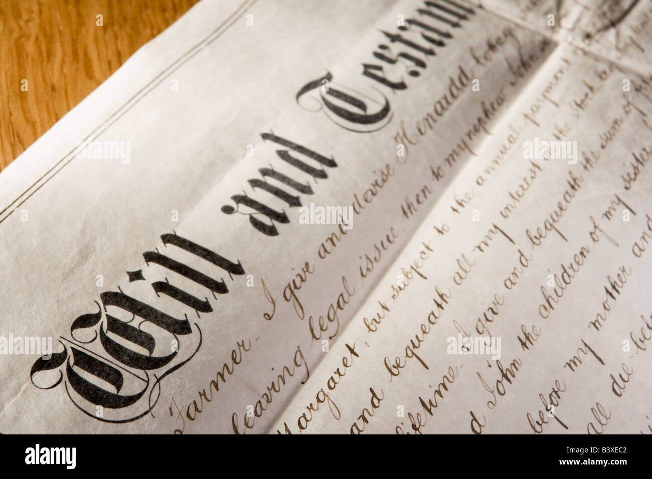 Old-Fashioned Will And Testament - Stock Image