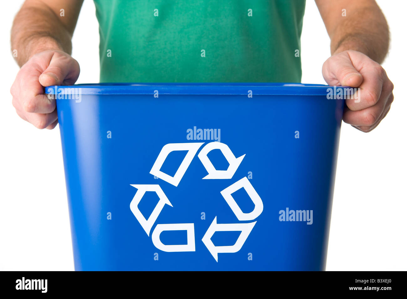 Man Holding  Recycling Bin - Stock Image