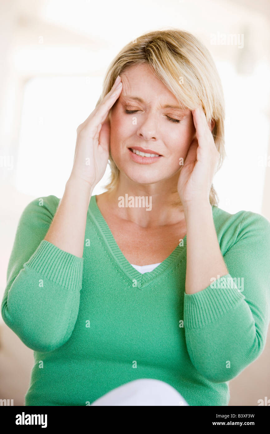 Woman With A Headache - Stock Image