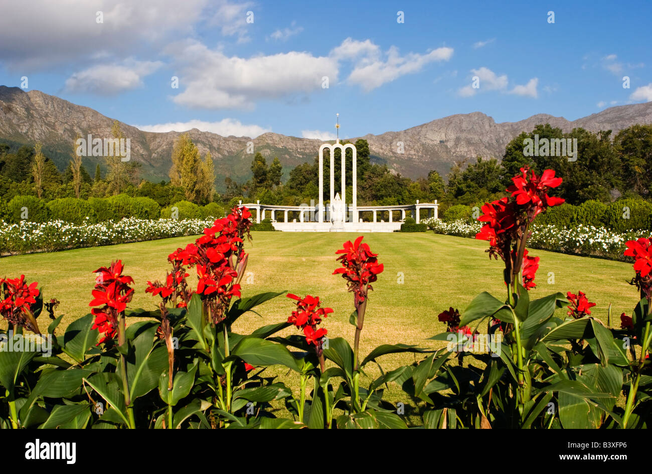 The Huguenot monument in Franschhoek, South Africa. - Stock Image