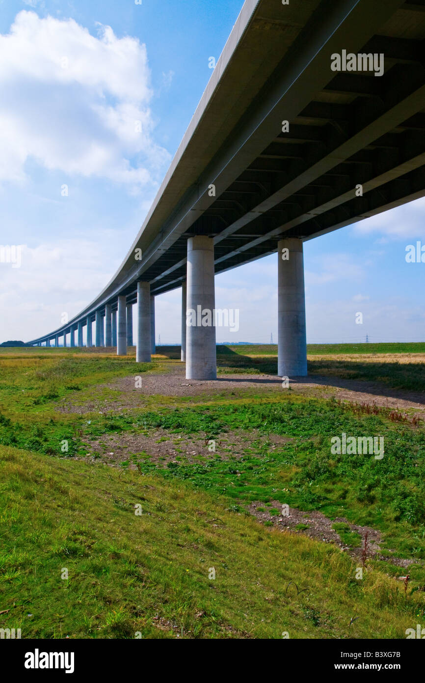 A colour portrait photograph of the new Sheppey Crossing, Kent, England - bridge - Stock Image