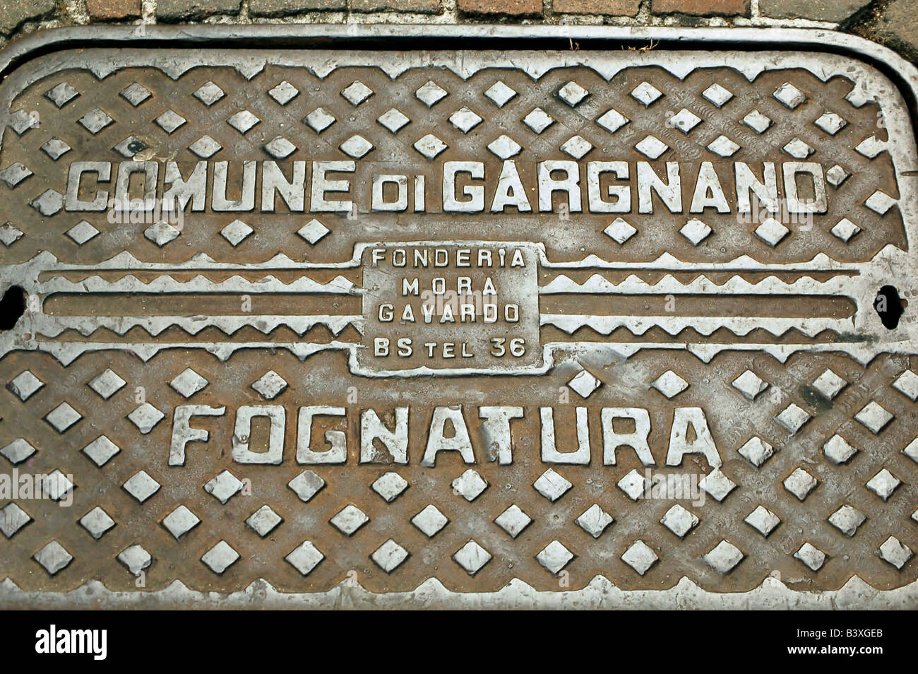 Manhole Cover in Gargnano - Stock Image