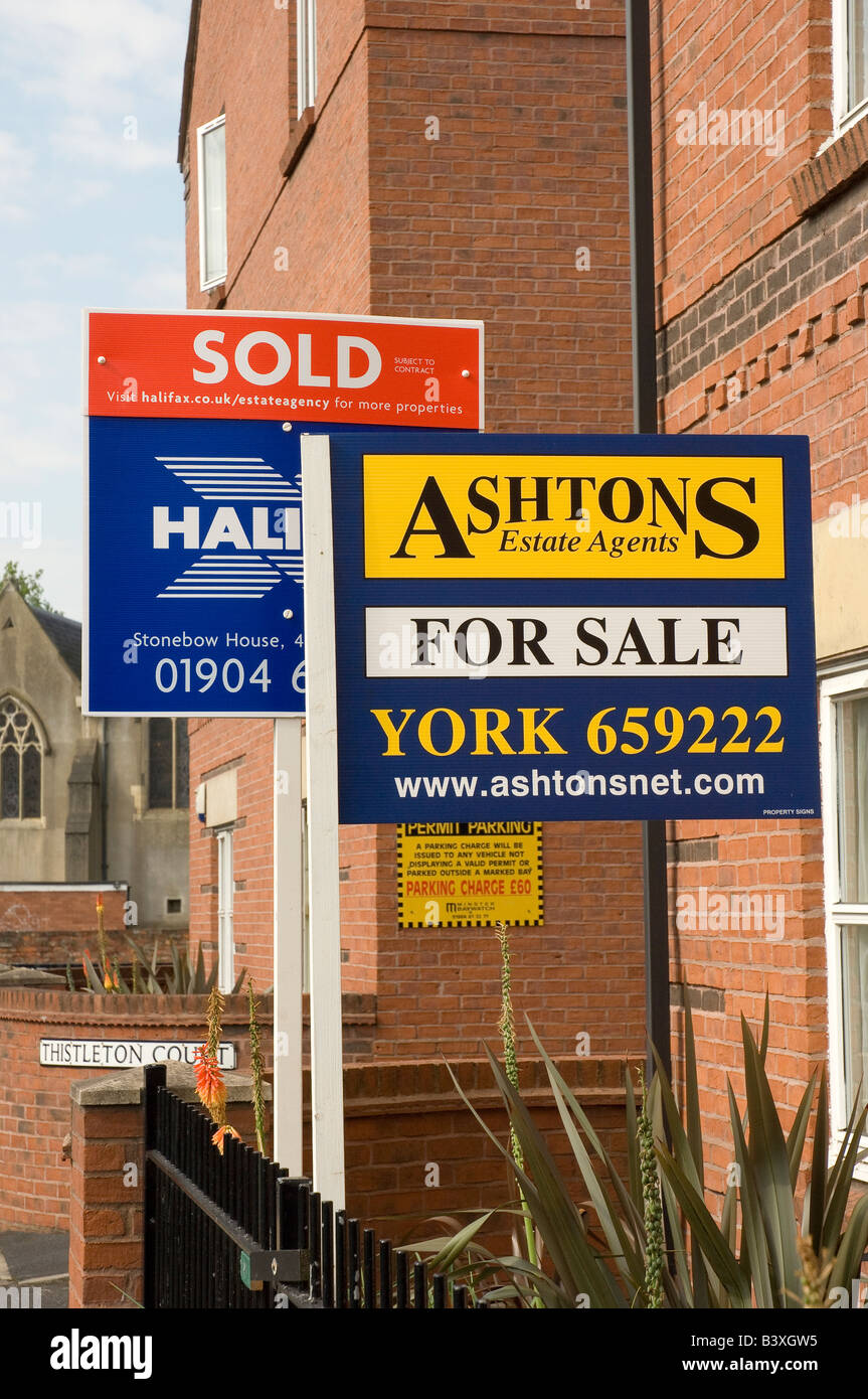 Residential property sign boards close up England UK United Kingdom GB Great Britain Stock Photo