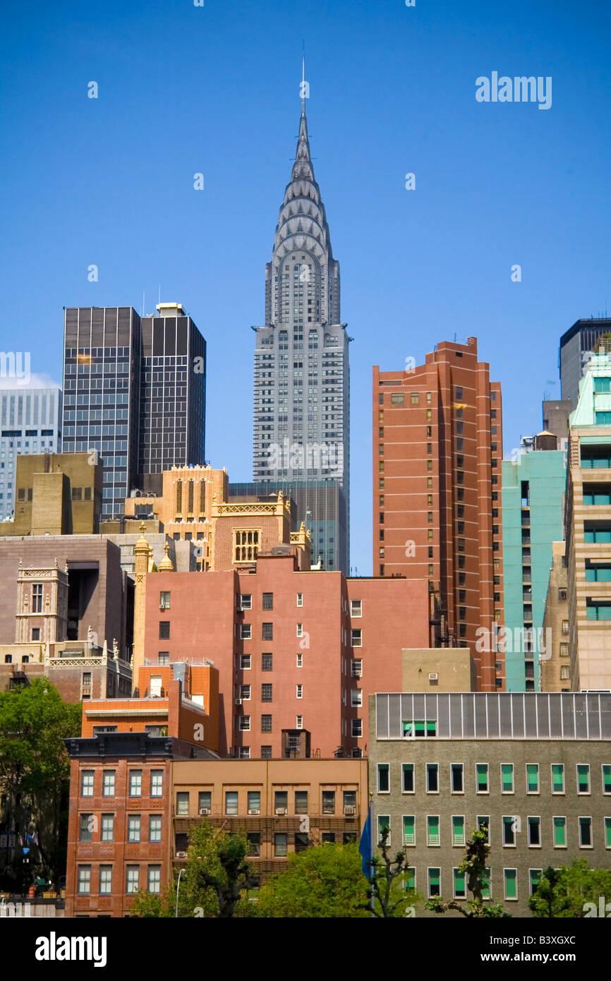 Chrysler building on skyline in New York City - Stock Image