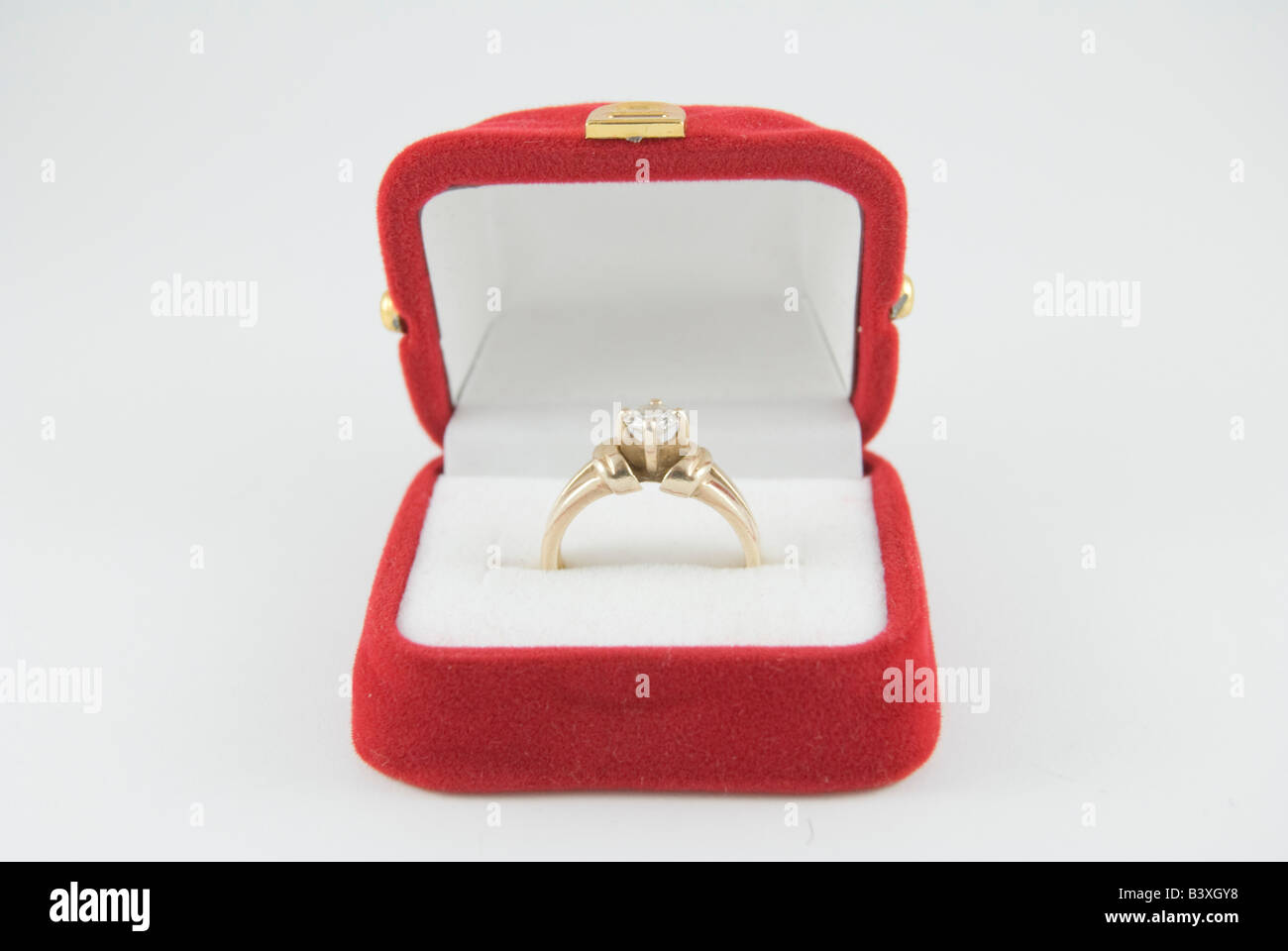 bd301de46 Diamond Engagement Ring in red box on white background Stock Photo ...