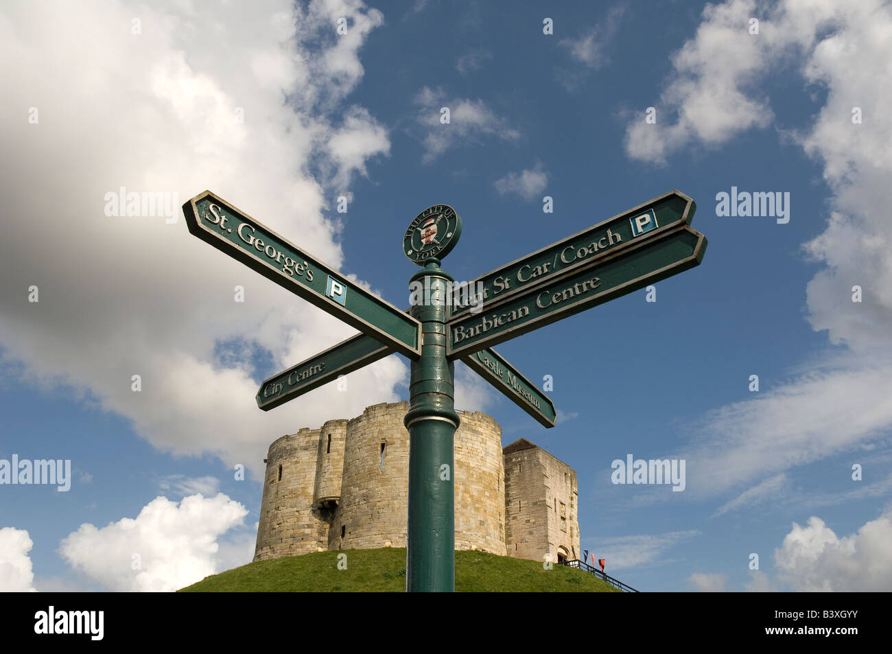 City of York tourist direction sign outside Cliffords Tower York North Yorkshire England UK United Kingdom GB Great - Stock Image