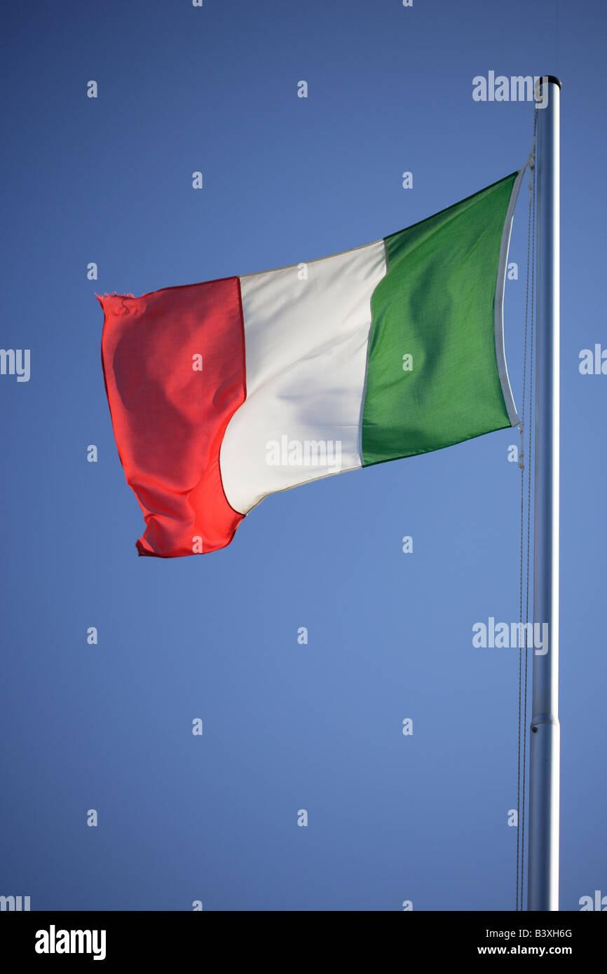 Italian national flag on a flagpole - Stock Image