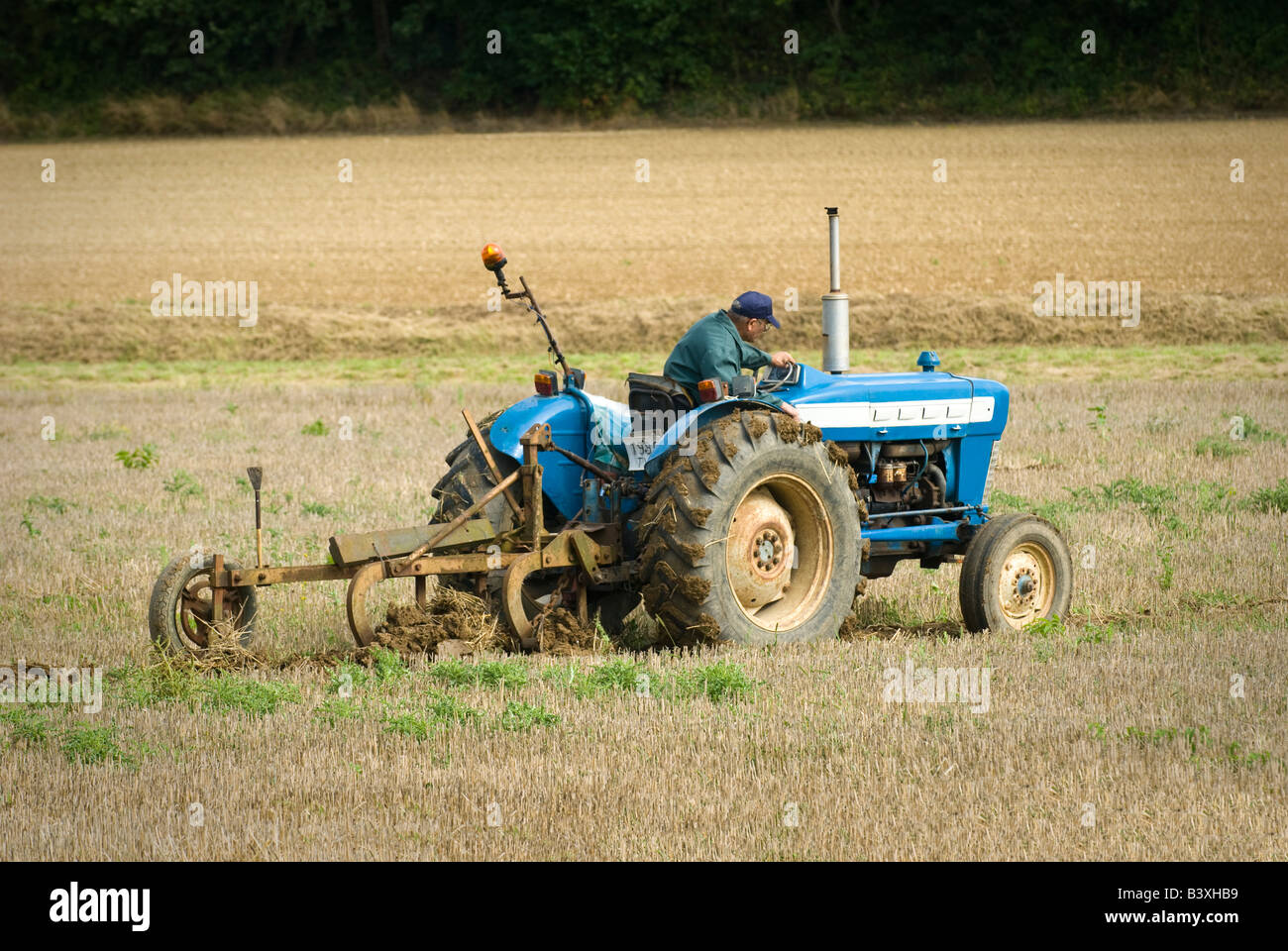 Old Ford tractor at ploughing match, Indre-et-Loire, France. -