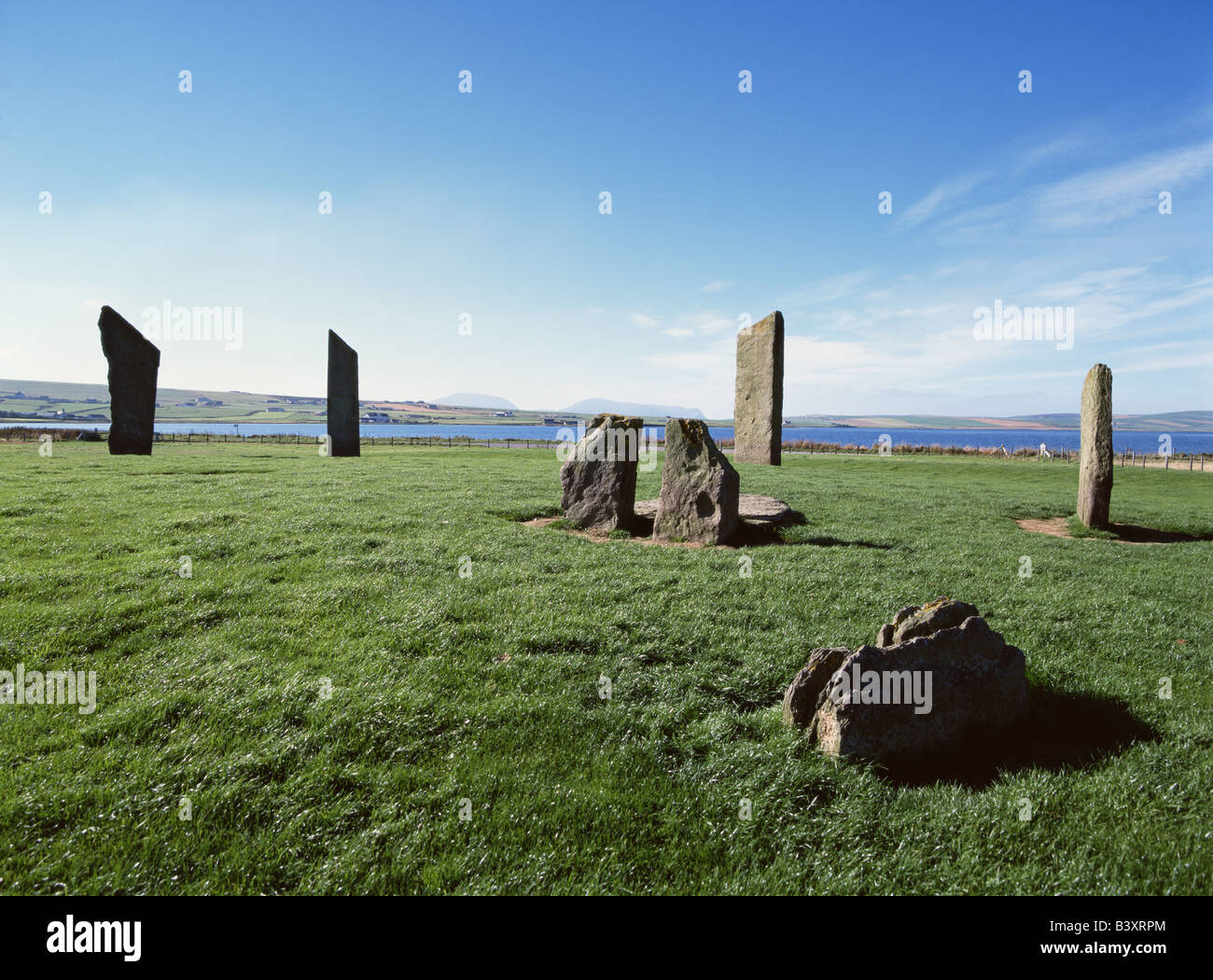 dh Stenness Standing Stones STENNESS ORKNEY Neolithic standing stone circle Loch of Stenness Stock Photo