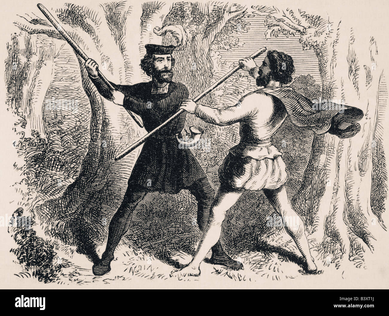 Two men fighting with quarter staffs.  Robin Hood and Little John. - Stock Image