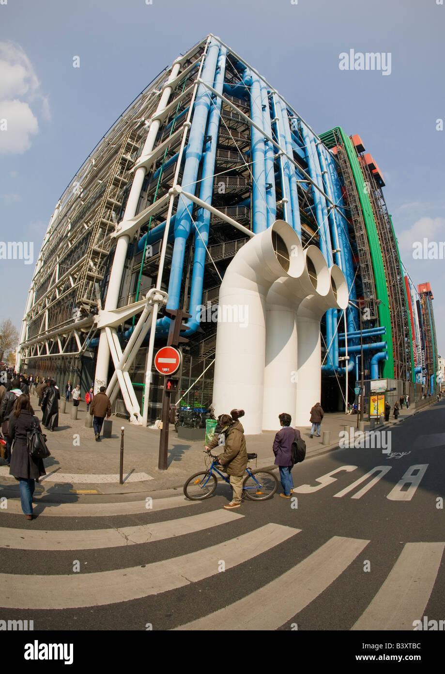 Exterior Pompidou Centre Center Paris France Europe EU - Stock Image
