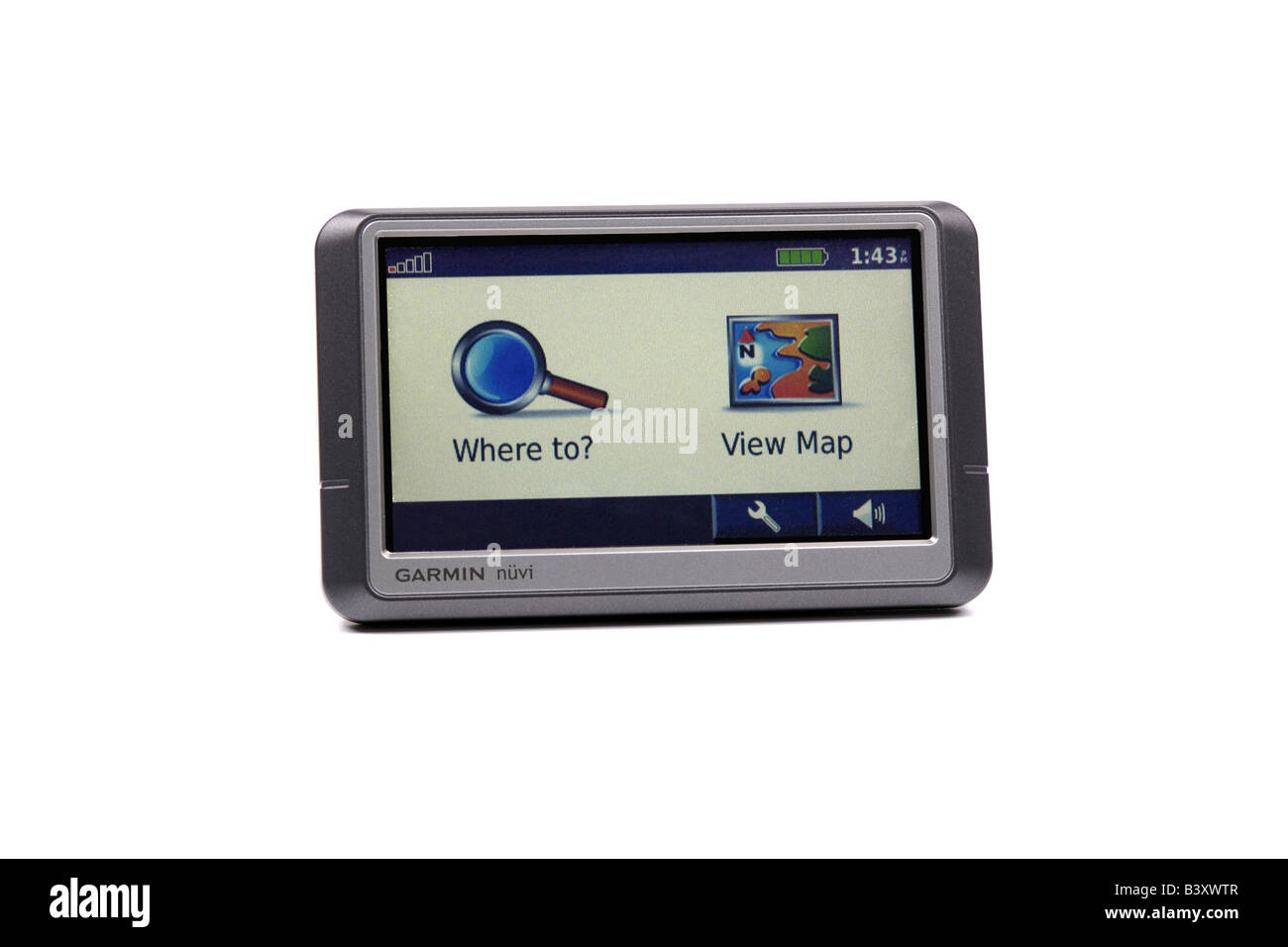 Garmin Nuvi Portable Satellite Navigation System against a white background - Stock Image