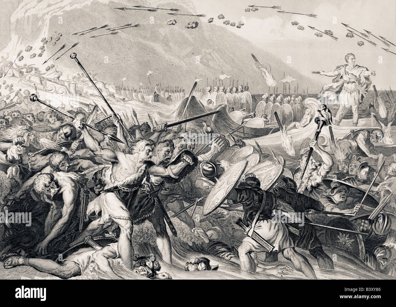 Julius Caesar lands in Britain 55 BC. - Stock Image