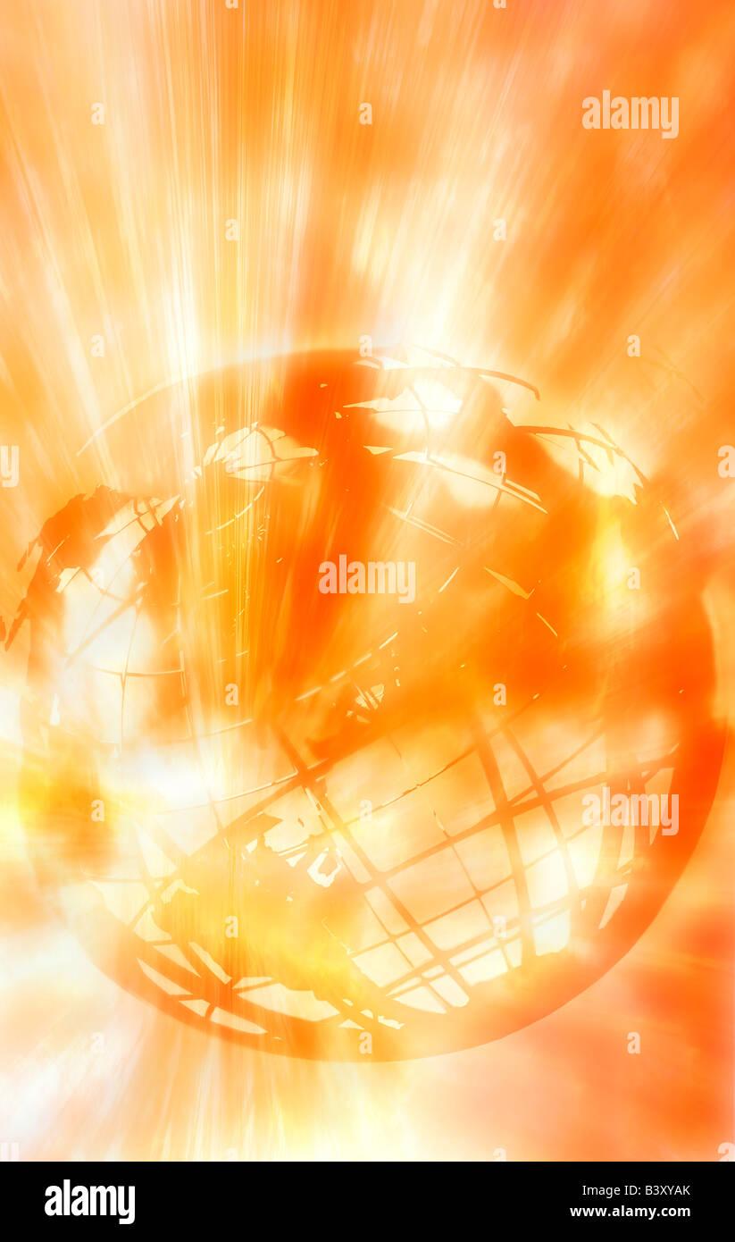 Globe bursting with yellow radiation - Stock Image