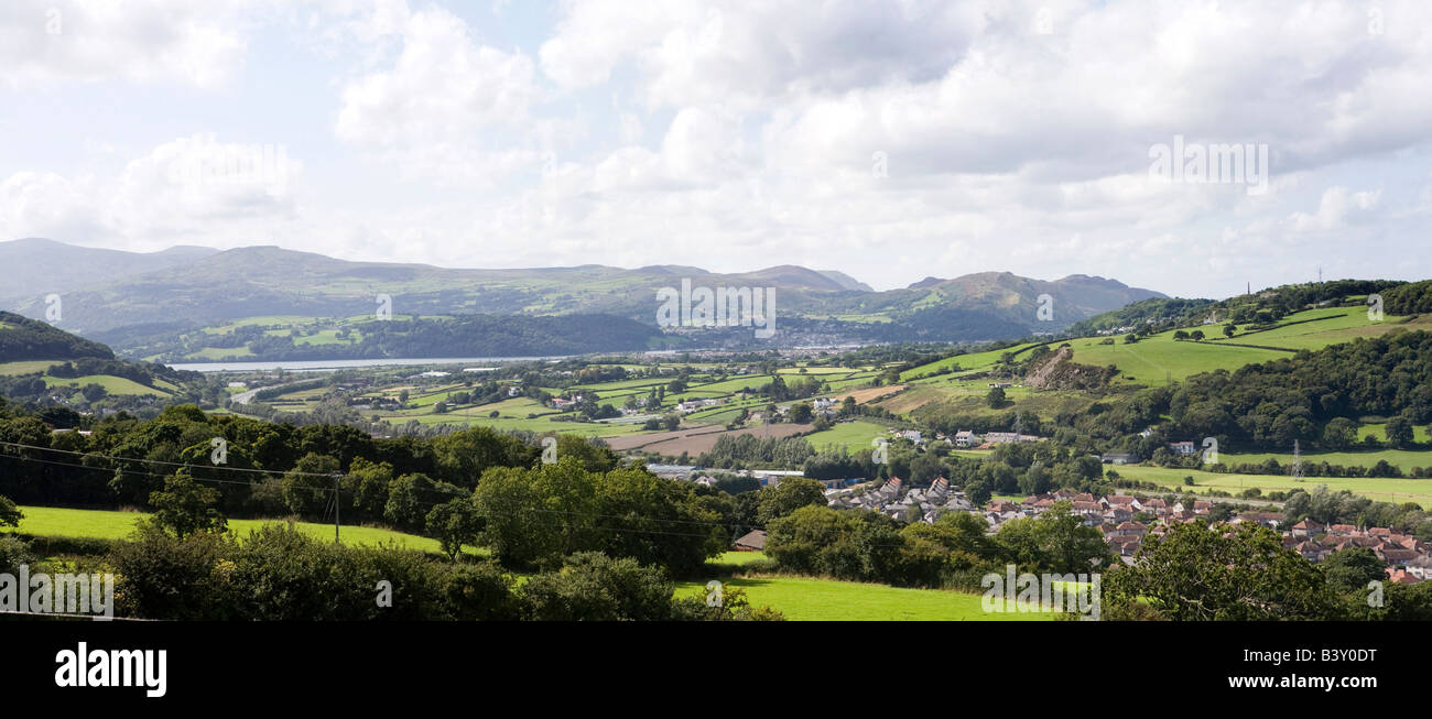 UK Wales Clwyd Colwyn Bay Welsh Mountain Zoo panoramic view over Conway Valley - Stock Image