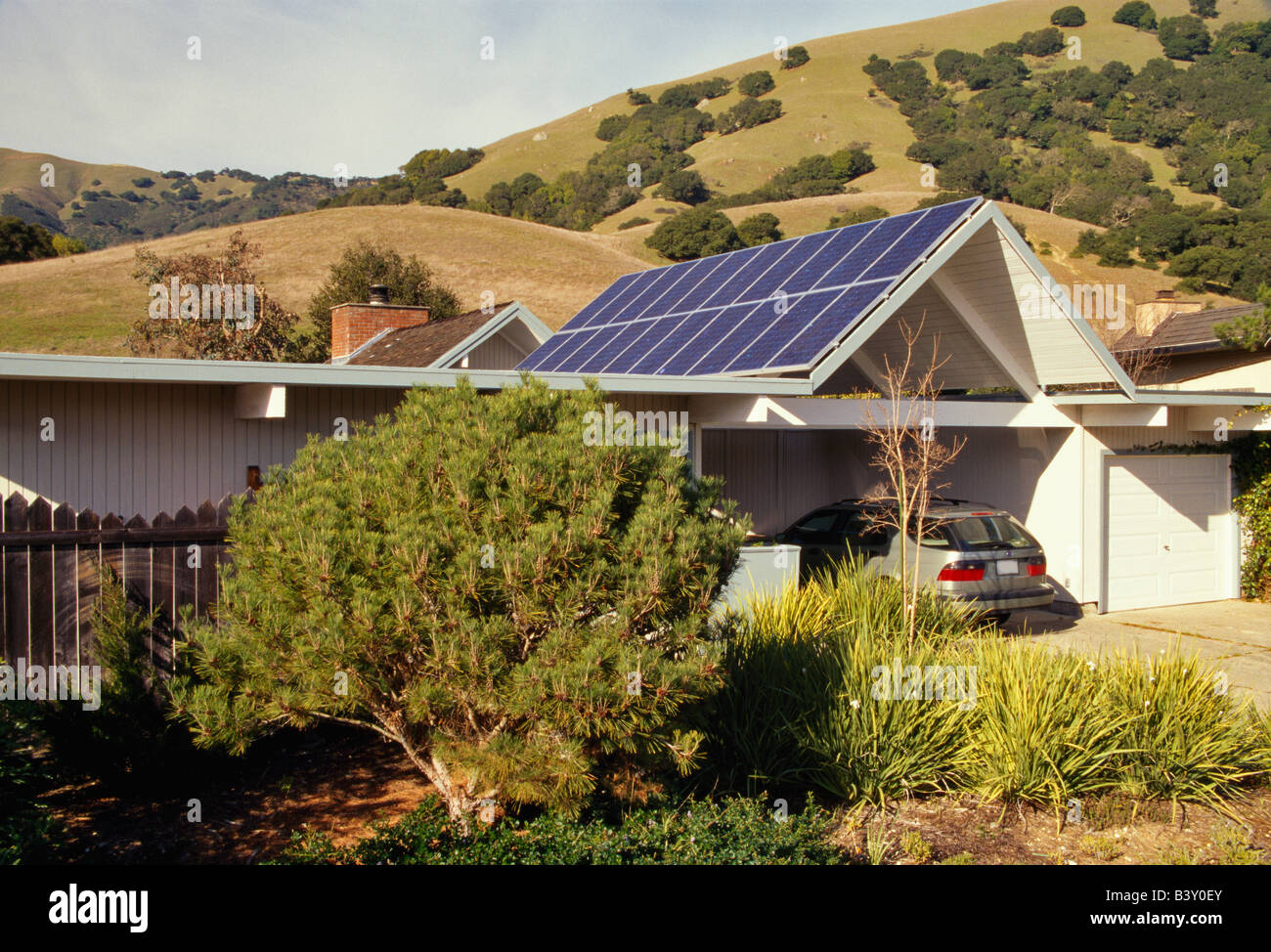 Solar panels operating  on roof. - Stock Image