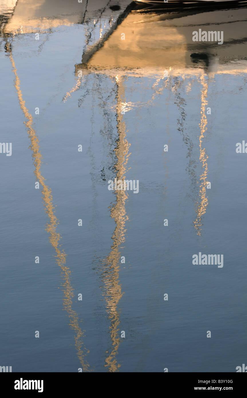water reflections of boats on moorings at pendennis marina falmouth - Stock Image