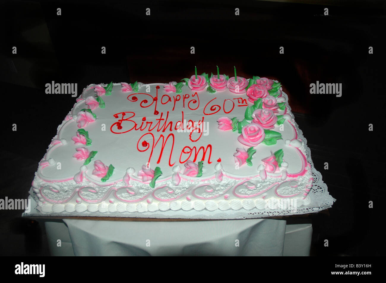 Amazing 60Th Birthday Cake Happy Birthday Mom Stock Photo 19648009 Alamy Personalised Birthday Cards Veneteletsinfo