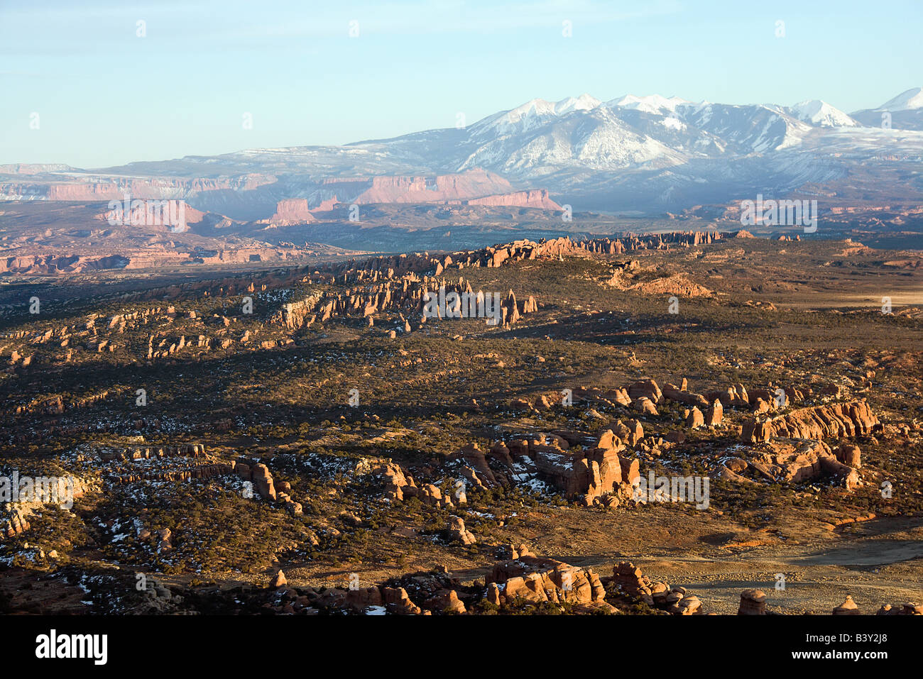 Aerial landscape of wide canyon in Arches National Park Utah United States Stock Photo