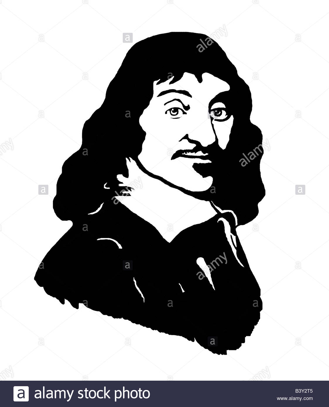 René Descartes 1596 1650 French Philosopher Mathematician Poster Style Modern Illustration Stock Photo